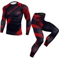 2 Piece camisa Treino Homens de compressão de manga comprida T Kit Imprimir camisola Leggings fitness Underwear térmica