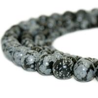自然な石のスノーフレーク黒曜石ビーズ丸い宝石の緩いビーズのためのDiyブレスレットジュエリーを作る1ストランド15インチ4-10