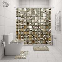 Nyaa 4 Pcs Decoração Mosaico Shower Curtain Pedestal Rug tampa do vaso tampa Mat Bath Mat Set Para Banheiro Decor Y200407