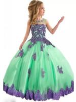 Zarif Ekip Boyun Dantel Bir Çizgi Çiçek Kız 'Elbiseler Tül Aplike Boncuklu Kat uzunluk Kızların Pageant elbise G022