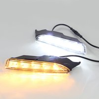 1 par DRL luz corriente diurna DRL Izquierda Derecha blanca y amarilla señal de luz para VW Volkswagen Scirocco R Line 2010 2011 2012 2013 2014