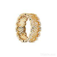 반지 18K 옐로우 골드 여성 웨딩 CZ 다이아몬드 링 Pandora 925 스털링 실버 벌집 반지 세트