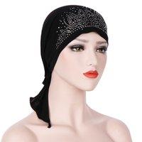Musulmanes estiramiento mujeres de algodón taladro Rhinestone Twist turbante sombrero cáncer Chemo Beanie Caps Headwrap Headwear pelo cubierta