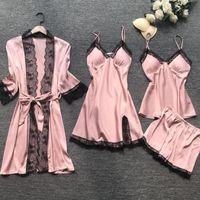المرأة الصيف بيجامة مجموعات 4 قطع مثير ملابس النوم الرباط ملابس نوم نسائية الحرير الحرير الأنيق بيما مع الصدر وسادات Homewear