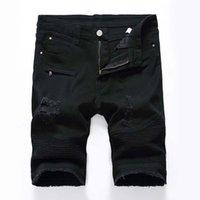 Модные мужские джинсы Шорты Джинсы для мотоциклистов Rock Revival Short Pants Узкие рваные дырки Мужские джинсовые шорты Мужские дизайнерские джинсы