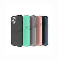 For iPhone 11 Pro Max Brushed Phone Case Card Slot Holder wi...