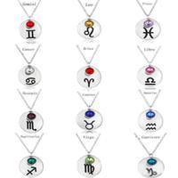 Neue Glück 12 Sternzeichen Halsketten Birthstone geburtstag Kristall edelsteine konstellationen Stein Anhänger Für frauenMänner Luxus Schmuck Zubehör
