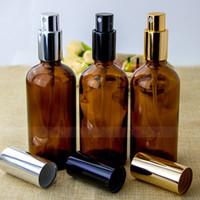 Hochwertiger feine Nebel Glas Sprühflasche für Parfüm Bernstein 30ml 50ml 100ml Pumpspray-Flasche mit Gold SS schwarzer Farben Cap für Ihre Wahl
