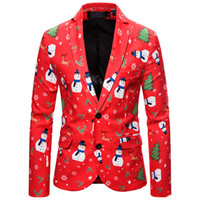 Engraçado Digital Print Snowman Suit feia do Natal para Femininos Partido Men Único Breasted Xmas feio Suit Natal Jackets Plus Size