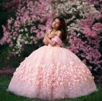 Palla rosa baby abito Abiti da sposa 2020 fuori dalla spalla ragazze del merletto vestito da spettacolo Bambini Abiti formali Prima Comunione da partito degli abiti di usura