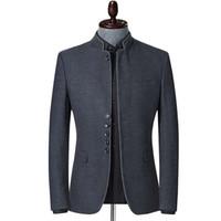 La primavera y el otoño nuevos hombres del estilo chino chaqueta de negocios se colocan Casual Cuello chaqueta de la chaqueta chaquetas de traje gris del ajustado