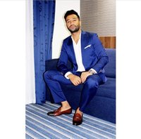 Latest Coat Pants Designs Royal Blue Shiny Prom Suits Groom ...