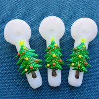 Weihnachtsbaum-Themed Tabakspfeife 5-Zoll-Glas-Kunst-Hand-Rohr glüht in dunklen Weihnachtsgeschenke Unbreakable Glas 120g