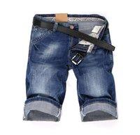 عارضة أزياء الصيف الساخن خياطة جينز قصير حار رقيقة نحيل جينز للرجال أزرق داكن ذكر صالح سليم جينز قصير الرجال
