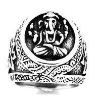 FANSSTEEL Mens del acero inoxidable punky de la vendimia o la joyería de las mujeres flor elefante Ganesha del anillo del regalo para los hermanos HERMANAS FSR20W50