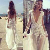 bohemio vestidos de novia con cuentas enchufado ver a través de gasa de manga larga Beach Country vestido de novia Vintage sin respaldo Boho más tamaño barato
