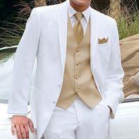 Herrenanzüge Blazer Weiße Hochzeit Smoking mit goldener Weste für Männer Bühnenkleidung Neueste Design 3 stücke gekerbte revers mann set jacke hosen