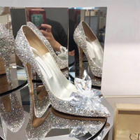 Zapatos de la boda Zapatos de las mujeres nupciales plata tacones altos de las mujeres de tacón fino princesa Cenicienta Phinestone Crystal S azadas