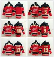 40 Henrik Zetterberg Detroit Red Wings Jersey 13 Pavel Datsyuk 9 Gordie Howe 19 Steve Yzerman Erkekler Hoodie Triko Hokeyi Jersey Tüm Stitche