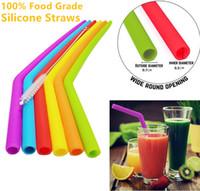 News Reusable Silicone Straws 식품 학년 30oz 20oz 텀블러 실리콘 빨대 청소 브러시 파티 빨대 마시는 도구