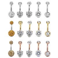 2019 Nuovo acciaio 316L sexy rotondo ombelico anelli zircone perla di cristallo gioielli ombelico bar body piercing anelli