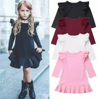Bébé Filles Robes Flying Sleeve Dress Enfants À Volants Plissée Robe De Princesse À Manches Longues Tops Infant Casual Robe Enfants Vêtements YFA857