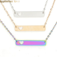 Stainless Steel Bar Pendant Necklace New Fashion Love Heart ...