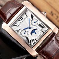 Kleine Dials Arbeit Herrenuhr Quadrat Sonne-Mond-Stern Male Uhr Armbanduhr Mode Quarz Wasserdichte Kalender Luxus-Mann-Uhr