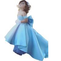 Синий Атлас милая высокая низкая цветок девушки платья с плеча назад лук прекрасные девушки театрализованное платье Первое причастие платья для девочек