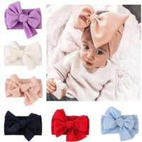 Cute Baby Girls Big Bow Hairband Headband Solid Cotton Stret...