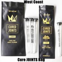 Vendita all'ingrosso West Coast Cure Pred Rotolo Confezione congiunta per 3pcs 1pcs Borsa di giunti curati con tubi di plastica Imballaggio odore a prova di odore a prova di cerniera richiudibile PACCHETTA MYLAR