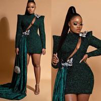 Sparkly Koyu Yeşil Gelinlik Modelleri Uzun Kollu Yüksek Boyun Sequins Abiye Örgün Kısa Mini Kokteyl Abiye