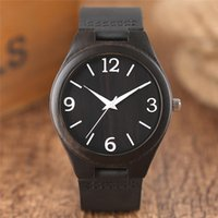 Holz Uhren Quarz-Uhr-Männer Bambus Moderne Armbanduhr Analog Natur Holz Mode weiche Leder-Band-Geburtstags-Geschenke