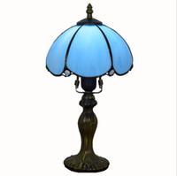미국 간단한 파란색 테이블 램프 티파니 스테인드 레트로 유리는 작은 테이블 램프 침대 옆 방 거실 침실을 살고 호텔 바 조명