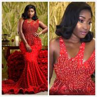 2019 Arabisch Rot Luxuriöse Sexy Abendkleider Spaghetti Perlen Perlen Abendkleider Meerjungfrau Formale Festzug Kleider P025