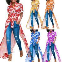 Hauts pour femmes Blouses sexy Chemises à col rabattu Imprimé Chemise asymétrique décontractée bleu-vert-rouge pour dames