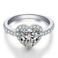 3 Farben Herz CZ Diamant Ehering für Frauen Weiß Rosa Gelb Stein 925 Sterling Silber überzogen Geschenk Schmuck Ring Kleinkasten Set