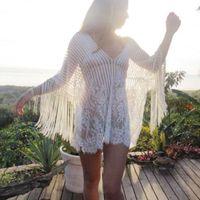 Женщины Выдалбливают Кружева Крючком Кисточкой Блузки Свободные Повседневные Пляжные Кружевные Рубашки