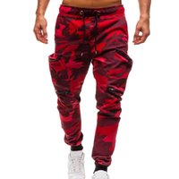 Camouflage Men Zipper Jogger Drawstring Cotton Cargo Pants C...