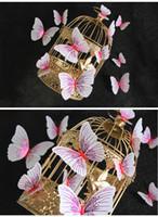 12pcs / set Ambilight 3D Papillon Sticker Mural Papillons décoration de la maison décoration de salle Aimant Réfrigérateur stickers muraux pour mariage