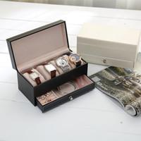 Cofanetto dell'orologio dei monili del cuoio dell'unità di elaborazione di 4 griglie con il supporto della scatola dell'organizzatore del cassetto
