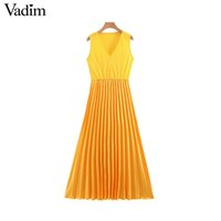 Vadim women casual color patchwork sleeveless dress pleated ...