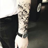 Demi corps bras autocollant de tatouage temporaire crâne imperméable à l'eau de longue durée transfert permanent maquillage semi tatouage tatouage autocollants SH190724