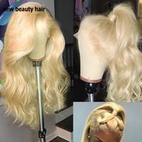 2019 neueste Blonde 360 Spitze voll Perücken Freier Teil Berühmtheit synthetische Spitzefrontseitenperücke mit dem Babyhaar für Frauen frontal