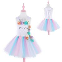 Costume Unicorn Tutu Abiti arcobaleno ragazze abiti bambini abiti firmati Girlsbirthday partito del vestito Fasce principessa Dress vestiti BY0802