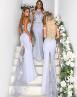 2020 nouvelle dentelle sirène high cou de mariage robe invité de mariage africaine formelle promotion robes de promottes longues bandesamides robes d'honneur robes de ménage d'honneur robes