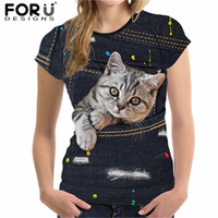 Forudesigns Cute Cat T Shirt per donna Summer Style manica corta Ladies Top Tees 3d Black Denim Pocket Girls T-Shirt Ropa Mujer Y19072601