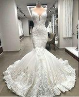 하이 엔드 독특한 레이스 인어 웨딩 드레스 아플리케 두바이 2020 페르시 신부 가운 사용자 정의 만든 robe de mariee