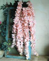 Decoración de la boda Wisteria flor de la vid con las hojas de seda flores artificiales Celing colgar de la pared Flor Ratan Navidad de la decoración del partido