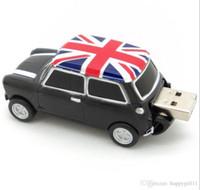 3 색 쿨 잉글랜드 BMW 미니 쿠퍼 자동차 모양 모델 USB 2.0 플래시 드라이브 메모리 스틱 pendrive 16GB 100 % 진짜 전체